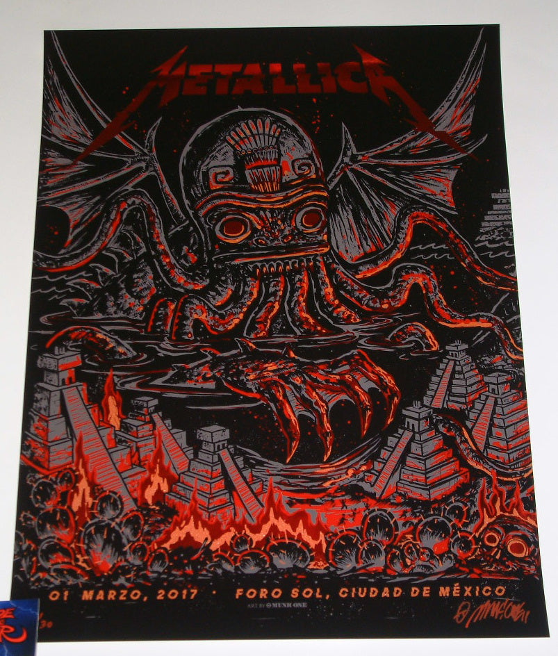 Munk One Metallica Poster Mexico City Red Foil Variant 2017 Artist Edition