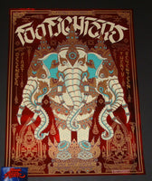Palehorse Design Foo Fighters Poster Fresno Red Foil Variant 2017 Artist Edition