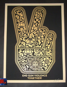 Shepard Fairey End Gun Violence Together Peace Fingers Art Print 2019