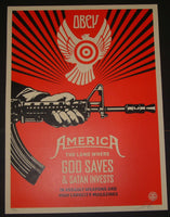 Shepard Fairey God Saves Satan Invests Art Poster 2013 S/N
