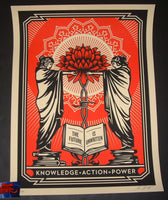 Shepard Fairey Knowledge Action Art Print 2018 Red Black Variant