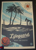 Shepard Fairey Lifeguard Not On Duty Art Print 2014 Signed Obey