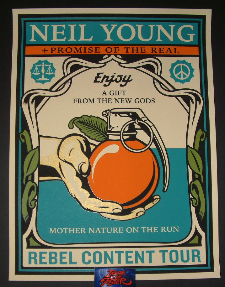 Shepard Fairey Neil Young Rebel Content Tour Poster 2015