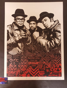 Shepard RUN-DMC Raising Hell Art Print Red Variant 2020 COA