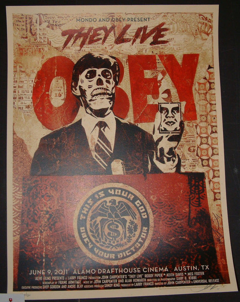 Shepard Fairey They Live Movie Poster Variant Mondo 2011 S/N