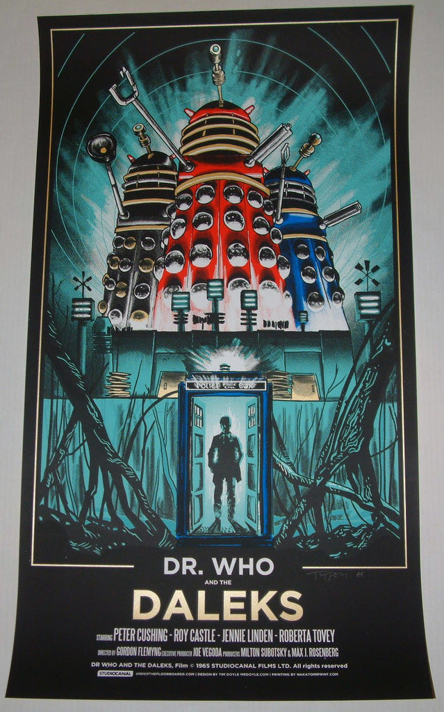 Tim Doyle Dr Who And The Daleks Movie Poster 2013 Glow in the Dark S/N