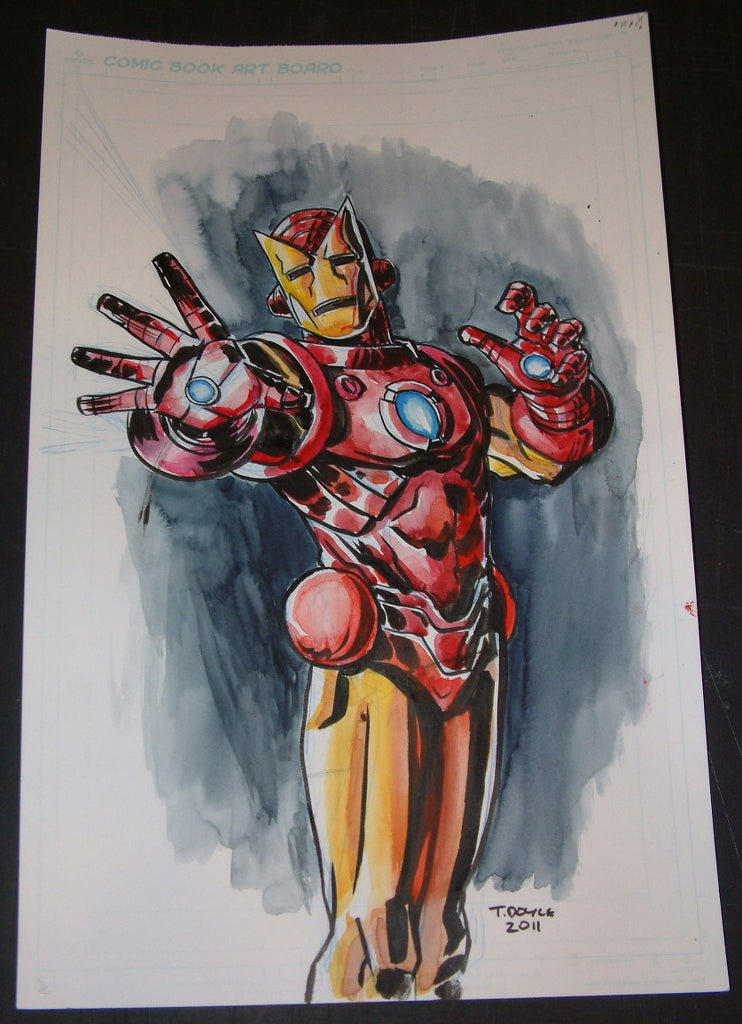 Tim Doyle Iron Man Batman Original Painting Drawing Signed 2011
