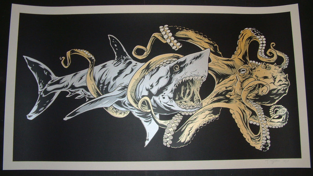 Tim Doyle Lost in Your Eyes Art Print Shark Octopus Battle 2013 S/N