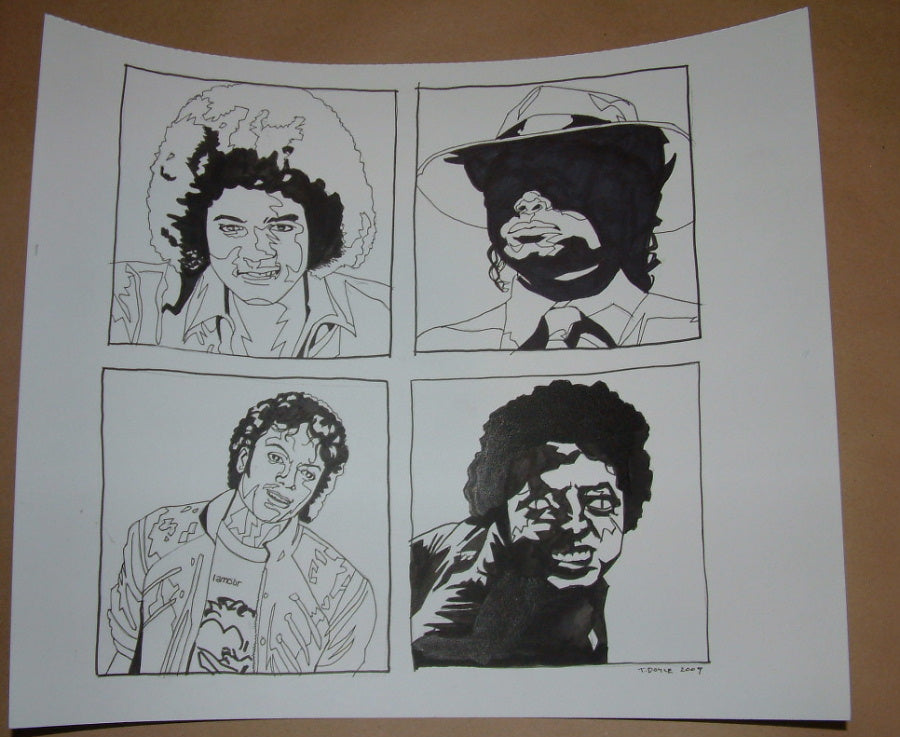 Tim Doyle Michael Jackson MJ Times Six Original Drawing Signed 2009