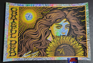 Todd Slater Grateful Dead Poster Sunflower Girl Kaleidoscope Foil Variant 2020