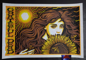 Todd Slater Grateful Dead Poster Sunflower Girl White Lava Foil 2020