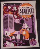 Tom Whalen Mickey's Service Station Cartoon Poster Mondo Disney 2011