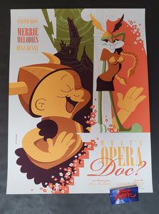 Tom Whalen What's Opera Doc Cartoon Poster Mondo 2012 Looney Tunes