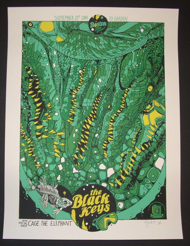 Tyler Stout Black Keys Poster Boston 2014 Artist Edition Green