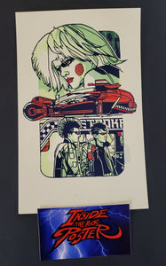 Tyler Stout Pris Blade Runner Handbill Red Variant GID Pros & Cons World Series 2019