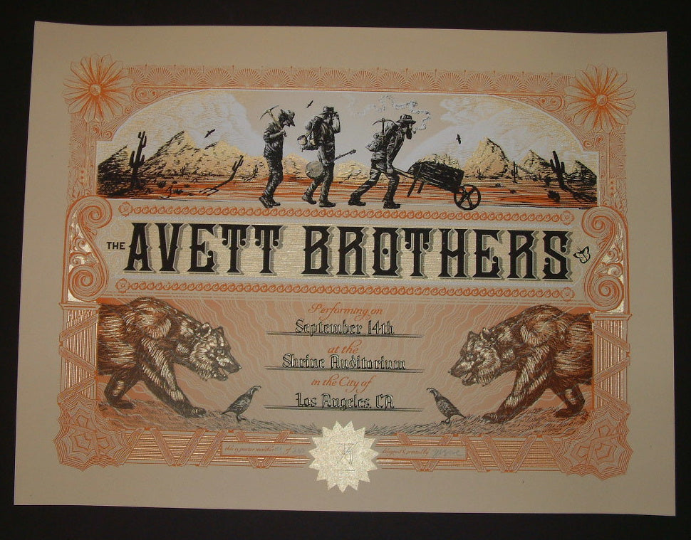 Zeb Love Avett Brothers Poster Los Angeles 2014 Artist Edition