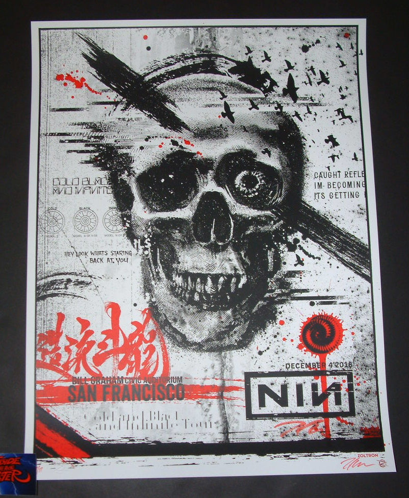 Zoltron Nine Inch Nails San Francisco Poster Black Red Variant Artist Edition 2018