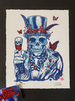 Zoltron Voodoo Letterpress Art Print Blue Red Variant 2020