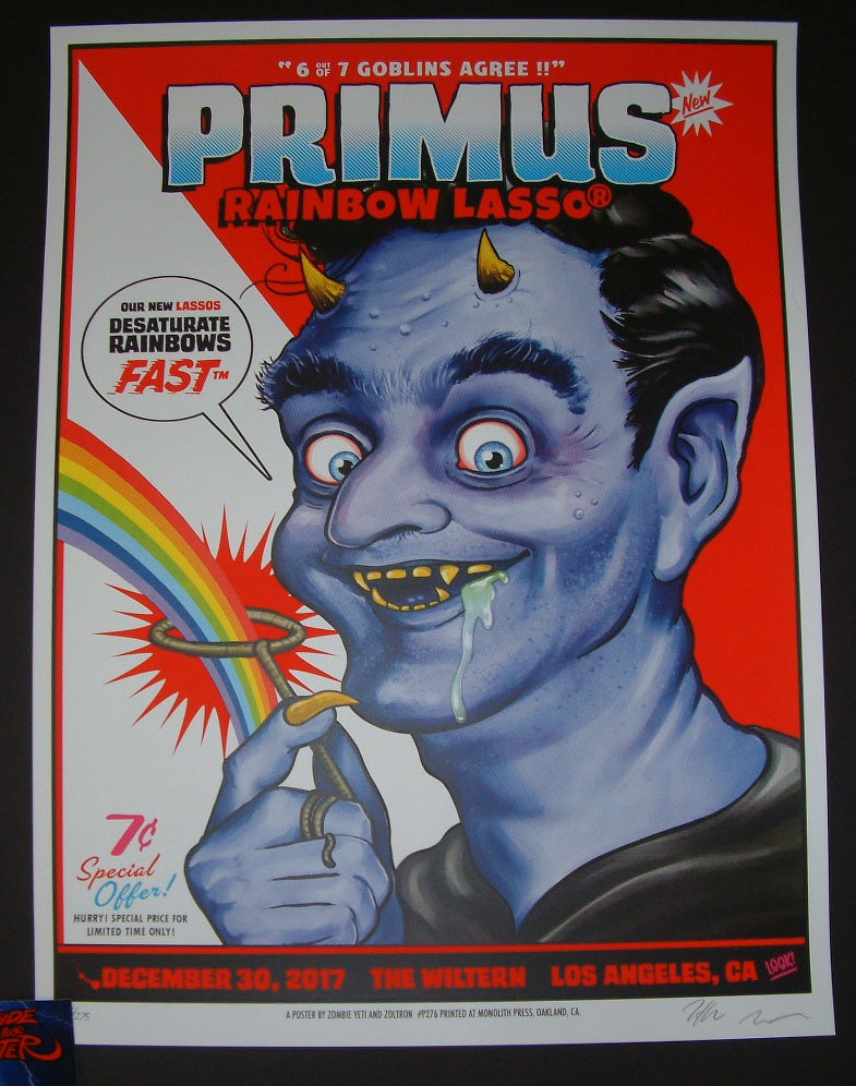 Zoltron Zombie Yeti Primus Poster Los Angeles 2017 Artist Edition Night Two