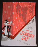 JJ Harrison Scaredy Cat Cartoon Poster Mondo 2014 Looney Tunes