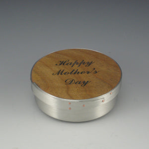 "Shaker 4"" Round Jewelry Box (Pewter & Cherry) (""Happy Mother's Day"")"