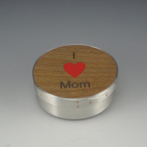 "Shaker 4"" Round Jewelry Box (Pewter & Cherry) (""I Love Mom"")"
