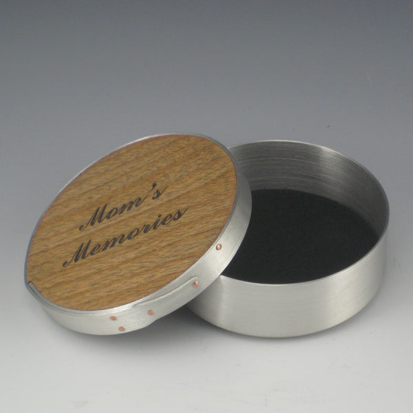 "Shaker 4"" Round Jewelry Box (Pewter & Cherry) (""Mom's Memories"")"