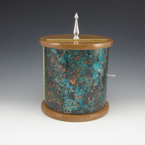 Medium Cylinder Pewter, Cherry, and Copper Jewelry Box with Rotating Trays