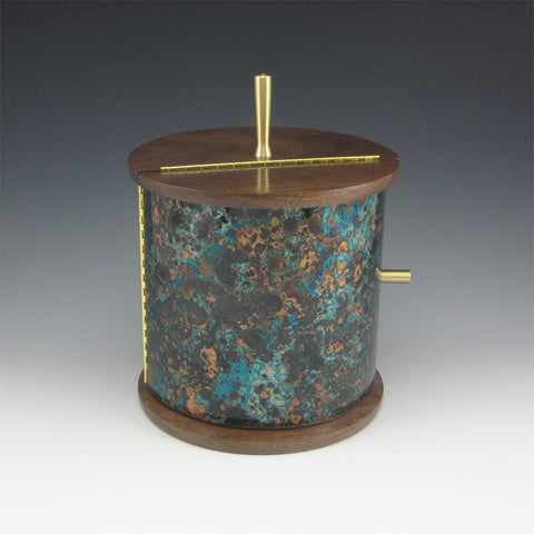 Medium Cylinder Brass,, Cherry, and Copper Jewelry Box with Rotating Trays