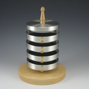 Contemporary Pewter Jewelry Box with Rotating Trays and Maple Wood Base