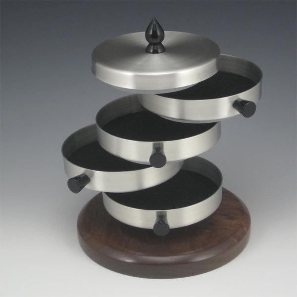 Contemporary Pewter Jewelry Box with Rotating Trays and Walnut Wood Base