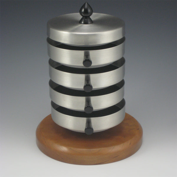 Contemporary Pewter Jewelry Box with Rotating Trays and Cherry Wood Base