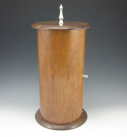 Cylinder Pewter, Cherry Body, and Walnut Top/Bottom Jewelry Box with Rotating Trays