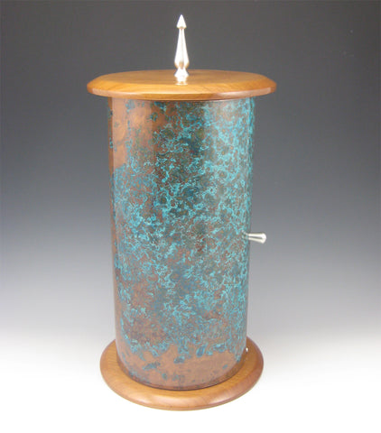 Cylinder Pewter, Cherry, and Copper Jewelry Box with Rotating Trays