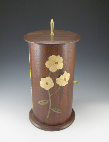 NEW! Cylinder Pewter, Mahogany Body w/Flower Marquetry, and Walnut Top/Bottom Jewelry Box with Rotating Trays