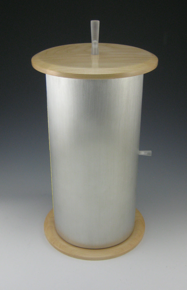 NEW! Cylinder Pewter Body, and Maple Top/Bottom Jewelry Box with Rotating Trays