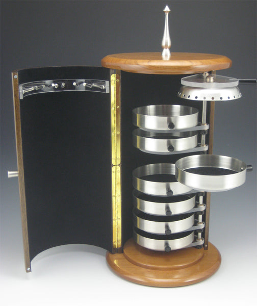 Cylinder Pewter, Walnut Body, and Cherry Top/Bottom Jewelry Box with Rotating Trays