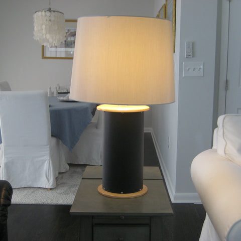 NEW! Table Lamp, Leather & Maple with Silver Shade