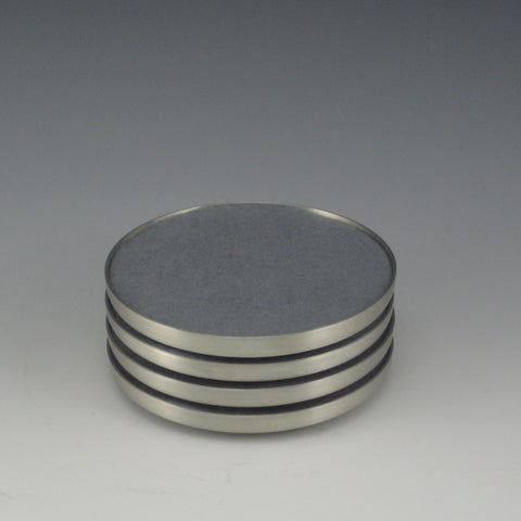 Pewter Drink Coasters with Felt Insert, Set of 4