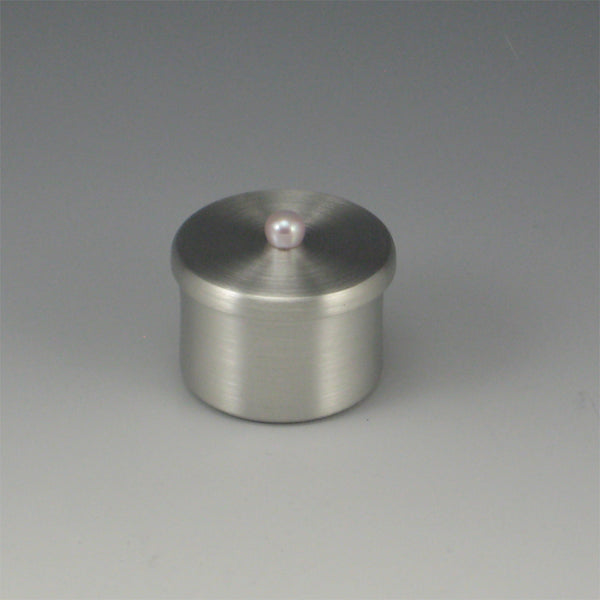 Round Pewter Ring Box with Pink Pearl