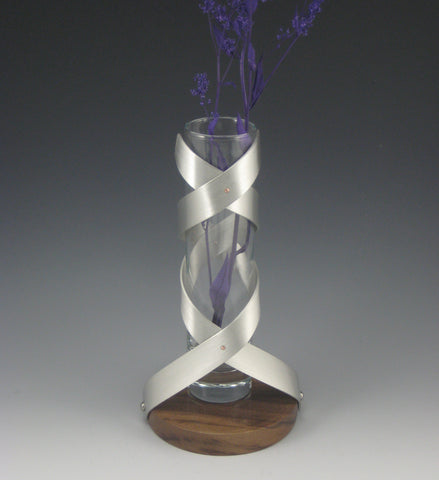 Pewter, Glass & Walnut Flower Vase, Large