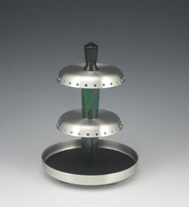 Rotating Pewter and Wood Jewelry Holder, Green & Black-Medium
