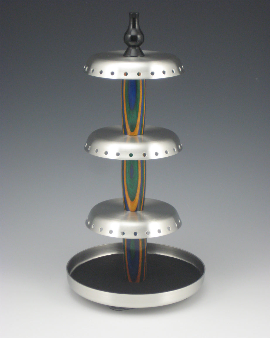 Rotating Pewter and Wood Jewelry Holder, Green, Yellow, & Blue-Large