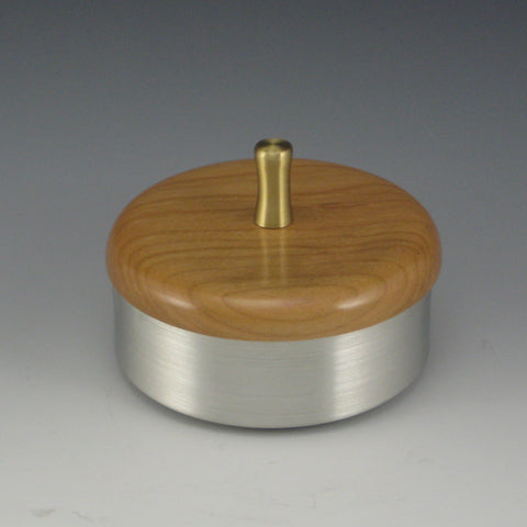 Round Pewter & Wood Jewelry/Keepsake Box