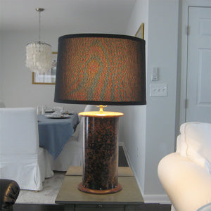 NEW! Table Lamp, Copper & Walnut with Black Shade