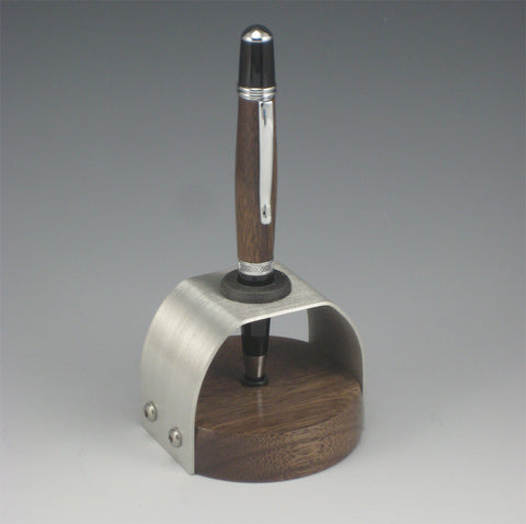 Walnut & Chrome Pen with Walnut & Pewter Pen Holder