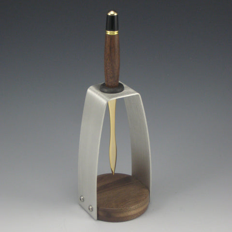 Walnut & Gold Letter Opener with Walnut & Pewter Holder