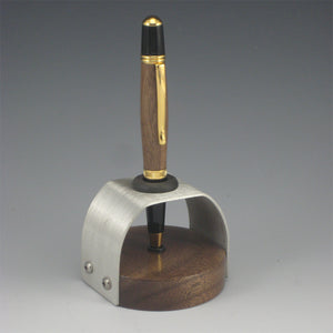 Walnut & Gold Plated Pen with Walnut & Pewter Pen Holder