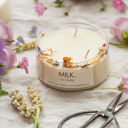 Boho Candle Morning Dew Dried Flowers