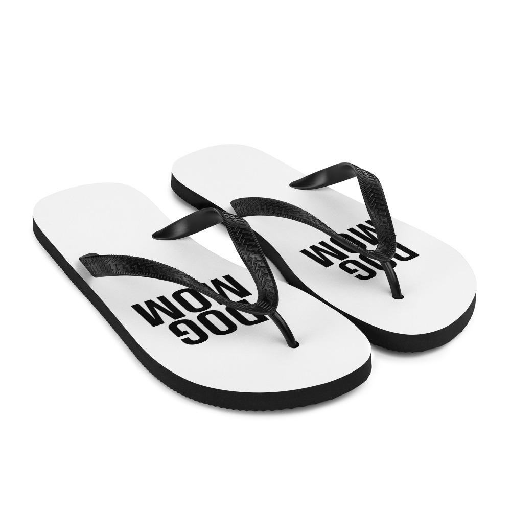 White Dog Mom Flip Flops